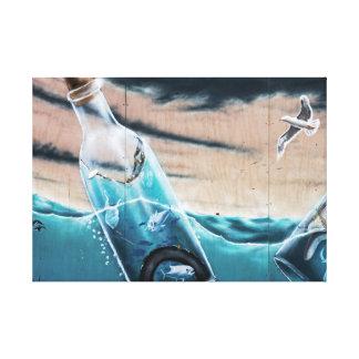 Peixes em uma garrafa impressão em canvas