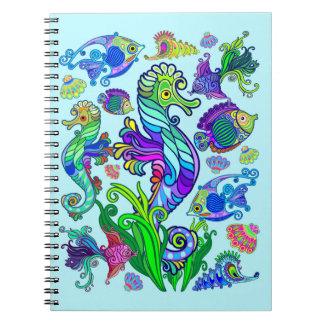 Peixes exóticos & cavalos marinhos da vida marinha caderno