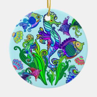 Peixes exóticos & cavalos marinhos da vida marinha ornamento de cerâmica