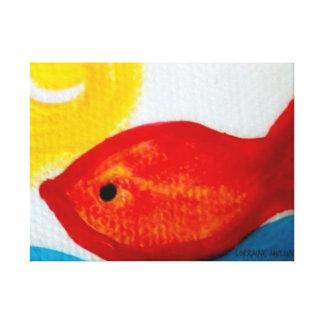 Peixes felizes! impressão em tela