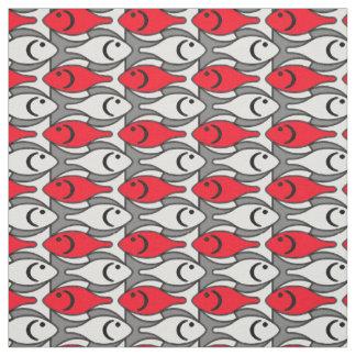 Peixes modernos do meio século, vermelho e tecido