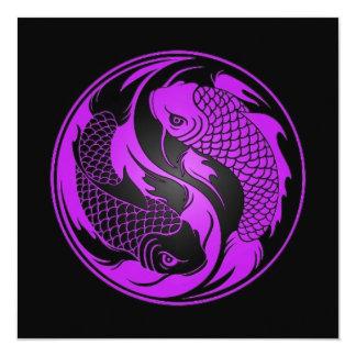 Peixes roxos e pretos de Yin Yang Koi Convites Personalizados