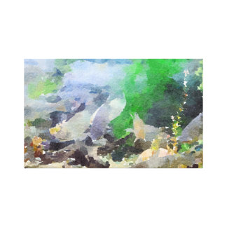 Peixes tropicais cinzentos abstratos impressão em canvas
