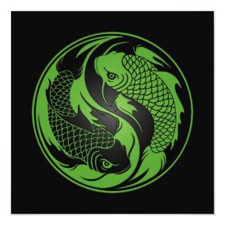 Peixes verdes e pretos de Yin Yang Koi Convites Personalizado