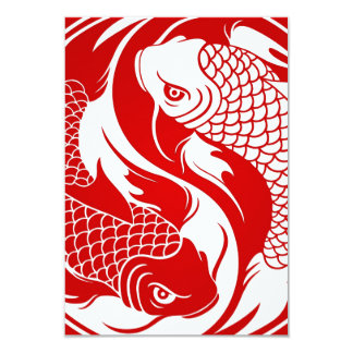 Peixes vermelhos e brancos de Yin Yang Koi Convite 8.89 X 12.7cm