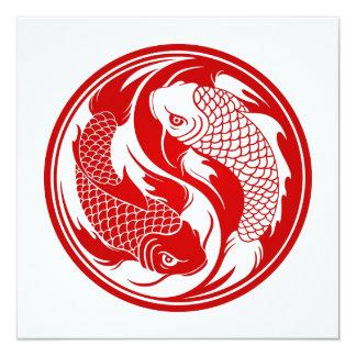 Peixes vermelhos e brancos de Yin Yang Koi Convite Quadrado 13.35 X 13.35cm