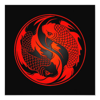 Peixes vermelhos e pretos de Yin Yang Koi Convites Personalizados