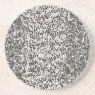 Pele de cobra cinzenta e branca porta copos de arenito