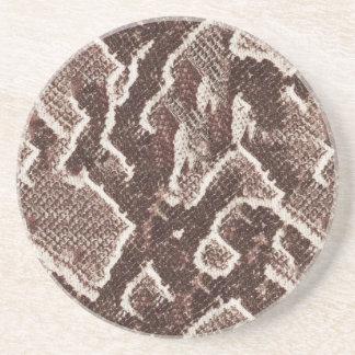 Pele de cobra de Brown escuro Porta Copos De Arenito