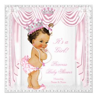 Pele do meio do laço do cetim do rosa da princesa convite quadrado 13.35 x 13.35cm