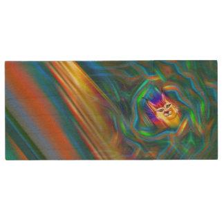 Pen Drive De Madeira Retrato psicadélico do lince do fluxo da cor