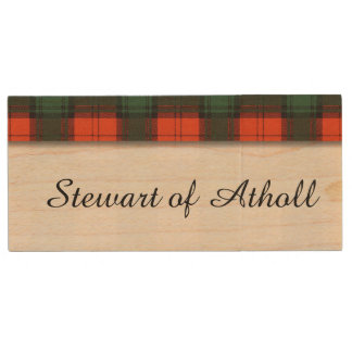 Pen Drive De Madeira Stewart do tartan do Scottish da xadrez do clã de