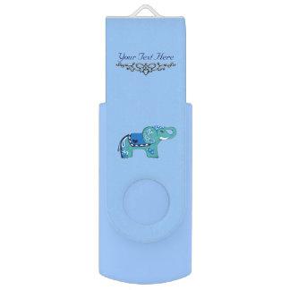 Pen Drive Giratório Elefante do Henna (azul/luz - azul)