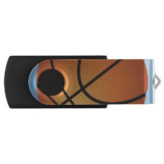 Pen Drive Giratório Fundo do azul do ícone do basquetebol
