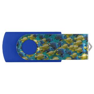Pen Drive Giratório Movimentação azul & amarela do flash do giro de