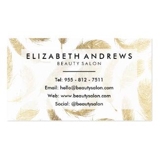 Penas elegantes do ouro moderno do falso do salão cartão de visita