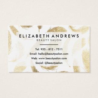 Penas elegantes do ouro moderno do falso do salão cartão de visitas