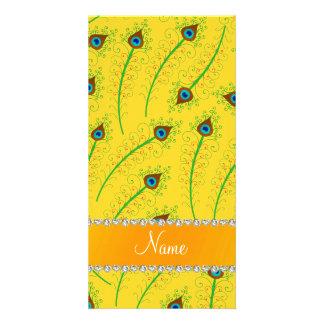 Penas swirly amarelas conhecidas personalizadas do cartoes com fotos