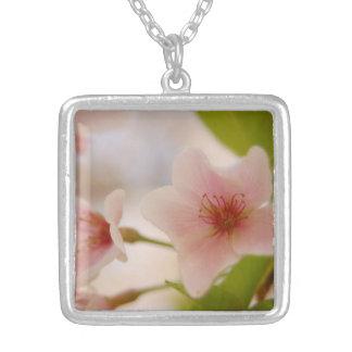 Pendente da flor de cerejeira colar banhado a prata