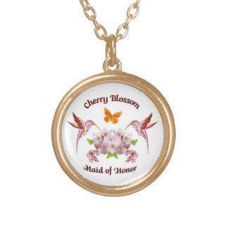 Pendente da madrinha de casamento da flor de cerej colar banhado a ouro
