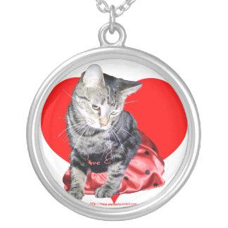 Pendente do dia dos namorados do gato de gato colar banhado a prata