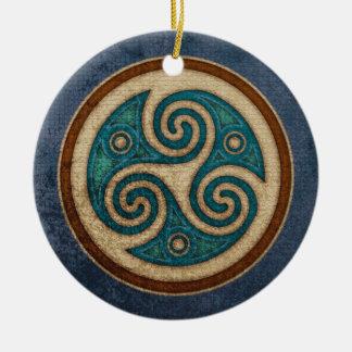 Pendente/ornamento escuros de Triskele Ornamento De Cerâmica Redondo