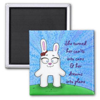 Penélope o coelho, ímã w/quote ímã quadrado