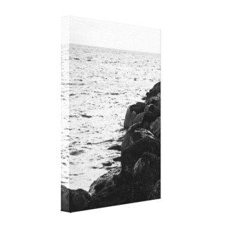 Penhascos preto e branco do beira-mar impressão em canvas