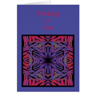 Pensamento abstrato do azul vermelho de você cartão comemorativo