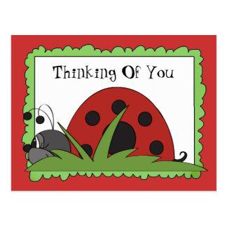 Pensamento de você cartão do joaninha cartão postal