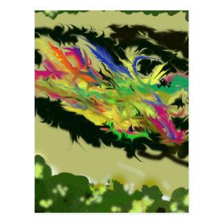 Pensando sobre ele - Absract colorido Cartão Postal