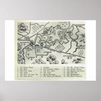 Pensões históricas de Kent, mapa de Kent norte, Posteres