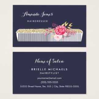 Pente ornamentado do cabeleireiro do vintage com cartão de visitas