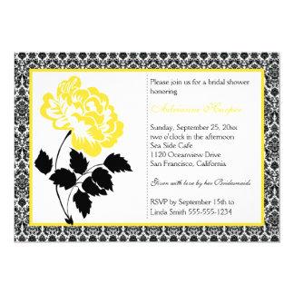 Peônia amarela com o chá de panela preto do convite 12.7 x 17.78cm