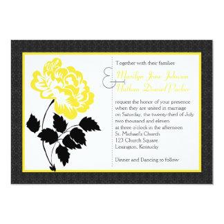 Peônia amarela no branco com damasco do preto do convite 12.7 x 17.78cm