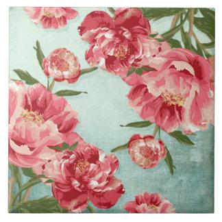 Peônias retros bonito de chintz da flor azulejo quadrado grande