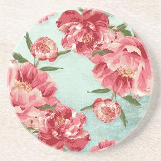 Peônias retros bonito de chintz da flor porta copos de arenito