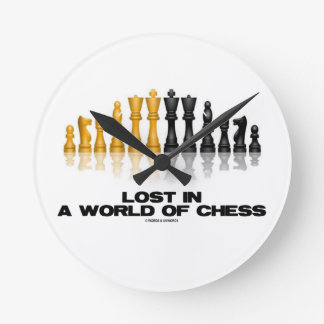 Perdido em um mundo da xadrez (grupo de xadrez relógio de parede