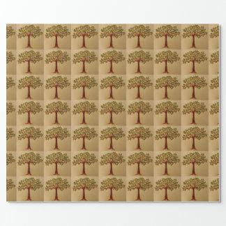 Perdiz no papel de envolvimento da árvore de pera papel de presente