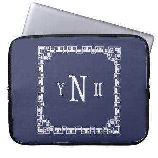 Personalizable com monograma da três-letra bolsa e capa de notebook