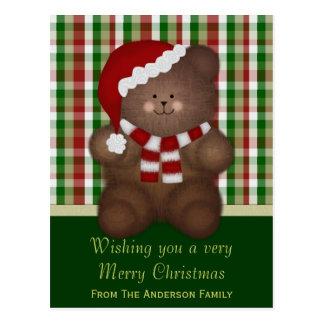 Personalizado: Cartão do urso de ursinho do Natal Cartão Postal