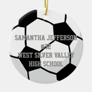 Personalizado em volta da bola de futebol ostenta  ornamento para arvores de natal