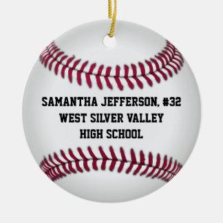 Personalizado em volta do basebol ostenta o orname enfeites