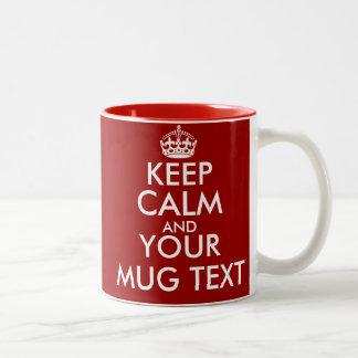 Personalizado mantenha canecas calmas com texto caneca de café em dois tons