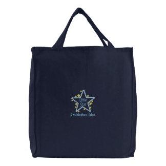 Personalizado poucos meninos da estrela bordou a s bolsas bordadas
