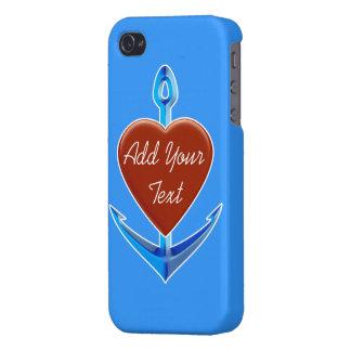Personalize - a âncora azul com forma vermelha do capa iPhone 4