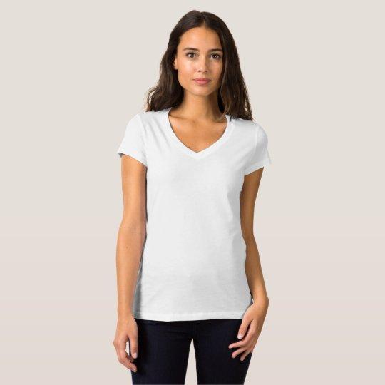Camiseta feminina Jersey Bella, Gola V, Branco