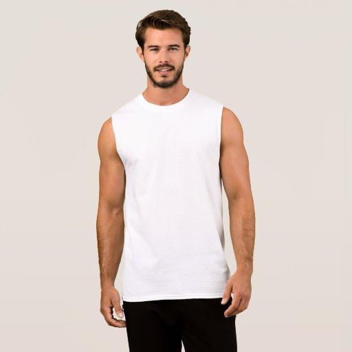 Camiseta Masculina de Algodão, Sem Mangas , Branco