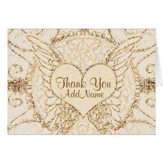 Personalize as asas e o coração do anjo cartão comemorativo