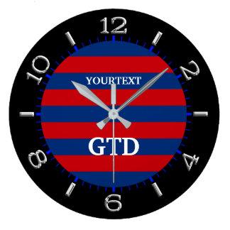 Personalize listras horizontais vibrantes modernas relógios para pendurar